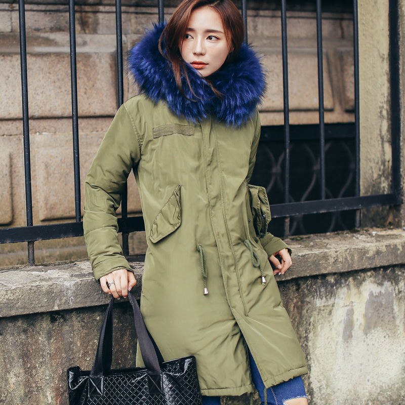 TREND-Setter 2017 Winter Down Parka For Women Coat Thick Warm Fur Hooded Parka Woman Long Jackets And Coat fashionable thick hooded pleated down coat for women