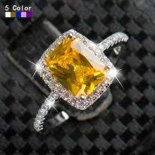 Luxury Crystal Diamond Rings Wedding Engagement Women