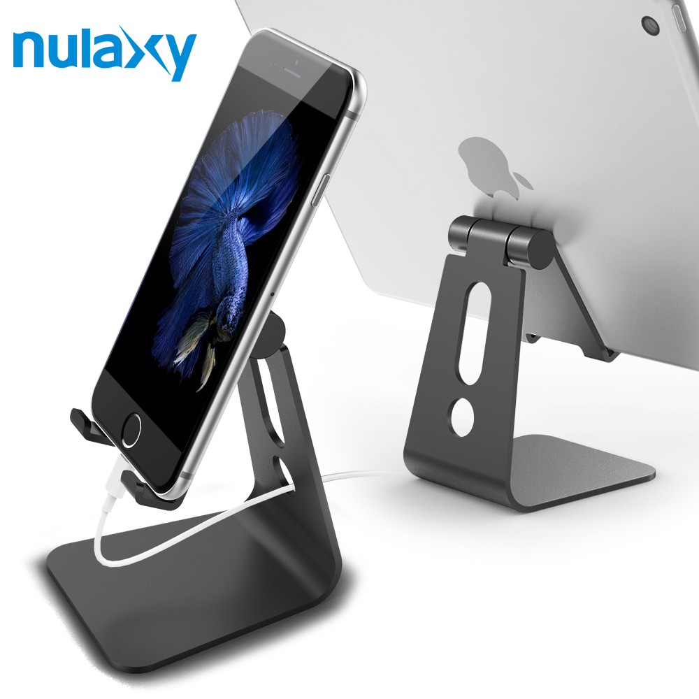 Nulaxy Universal Phone Holder For Mobile Phone Aluminum Desk Phone Mount Hinge Adjustable Tablet Stands For iPhone 6 7 For iPad mobile phone