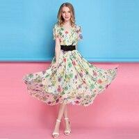2017 Boho Style Long Dress Women V Neck Beach Summer Dress New Year Vintage Chiffon Maxi