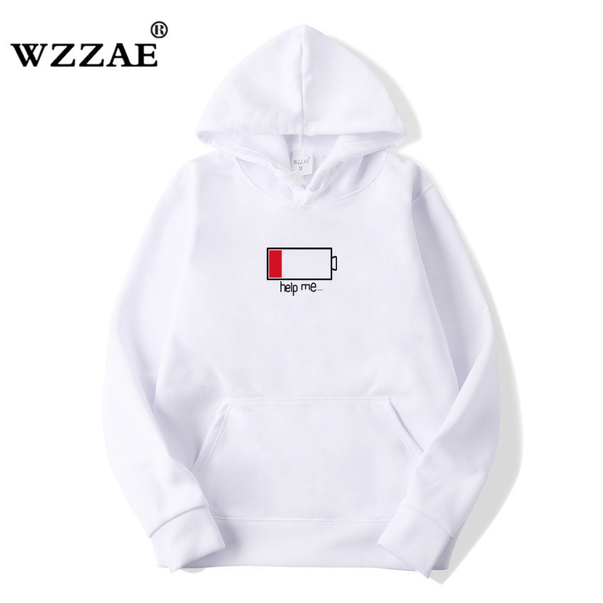 WZZAE 2018 Low Help Me Hoodies Men 3D Creative Hooded Sweatshirts Fashion Streetwear Hip Hop Black Hoodie Male Plus Size S-XXL