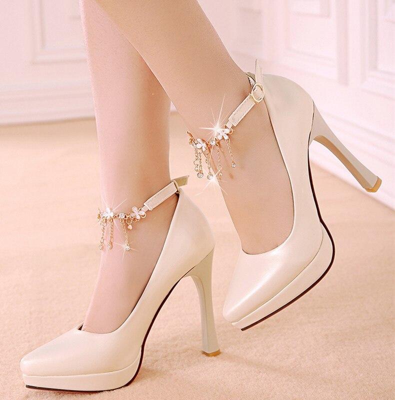 ФОТО 2016 new spring Sexy women shoes high-heeled shoes buckle shallow mouth diamond tip nightclub tassels chain big size 32-43