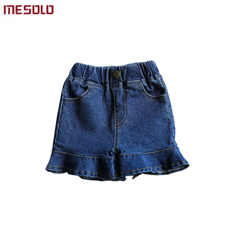 MESOLOBaby Girls Clothing 2018 Summer Korean Fashion Elastic Ruffled Blue Jeans Package Hip Denim Shorts Toddler for Kids Clothe