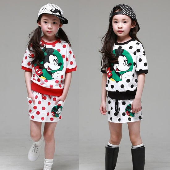 High Fashion Summer Style Girls Clothes Kids Mickey Cartoon Tracksuit Girls Skirt+T shirt 2pcs Set Kids Sport Suit 2017 new style fashion mom and girls short sleeve letter t shirt dot black skirt set summer kids casual clothes parenting 17f222