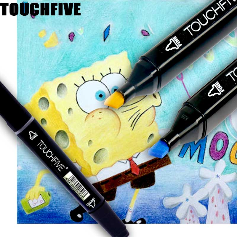 TOUCHFIVE  60 color Animation design Marker pen for drawing double headed art sketch markers student Painting Manga art supplies manga design 24 color three generations oily alcoholic paint mark pen permanent marker sketch double headed copic markers