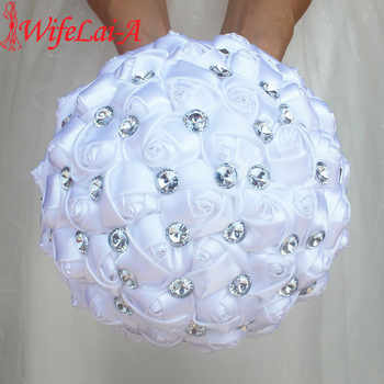 WifeLai-A Cheap Pure White Silk Wedding Bouquet with Silver Gem,New Pure Color White Bridal Flower,Bowknot Holding Bouquet W323 - DISCOUNT ITEM  45% OFF All Category
