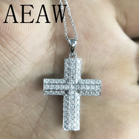 AEAW Cross Shaped Sterling Silver Moissanite DF Color 1.1 CTW Brilliant Cross Pendant Necklacefor Women