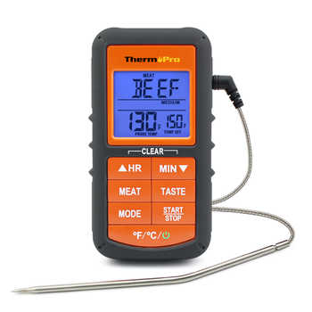 ThermoPro TP06S Digital Kitchen Cooking Thermometer Single Probe Food Meat Thermometer with Timer/Temperature Alarm For BBQ