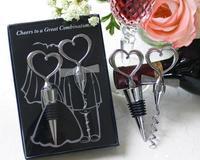 20 unids = 10 pares mucho wein favor del banquete de boda para llevar de regalo en forma de corazón abridor de botellas de tapón en caja