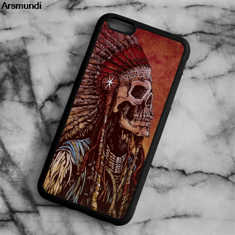 Arsmundi Indian Native American Skull Skeleton Phone Cases for iPhone 5C 5S 6 6S 7 8 X for Samsung Case Soft TPU Rubber Silicone