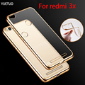 original case for xiaomi redmi 3x 3 x rose gold plating tpu transparent ultra thin clear soft phone cover cases silicon silicone