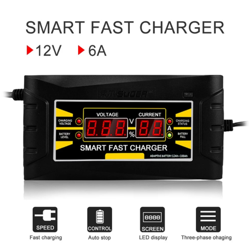 Full Automatic <font><b>Car</b></font> <font><b>Battery</b></font> <font><b>Charger</b></font> EU Plug 150V-250V To 12V 6A <font><b>Smart</b></font> Fast Power Charging For <font><b>Car</b></font> Motorcycle <font><b>Battery</b></font> <font><b>Charger</b></font> image