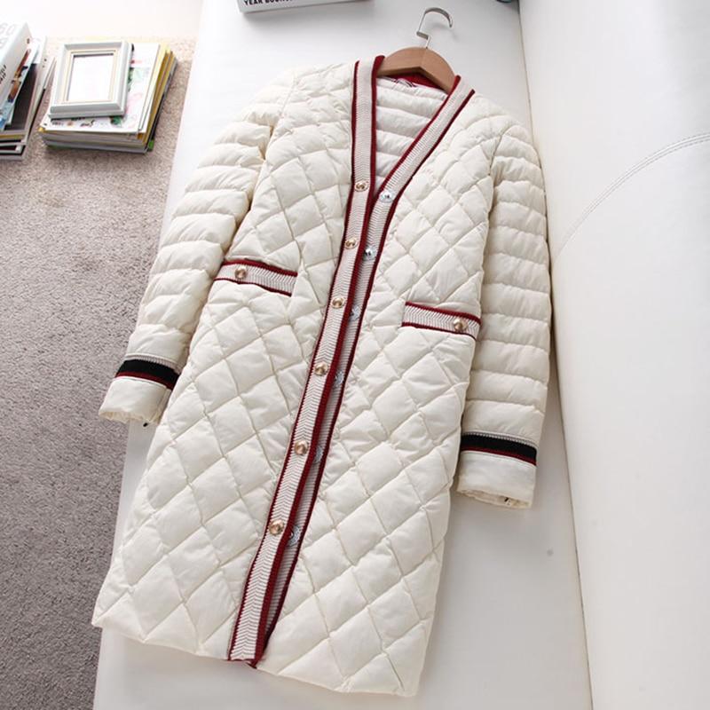 90% 화이트 오리 자켓 여성 긴 v 넥 라이트 얇은 슬림 다운 outwears 봄 가을 숙녀 스위트 다운 코트 yp2072-에서다운 코트부터 여성 의류 의  그룹 1