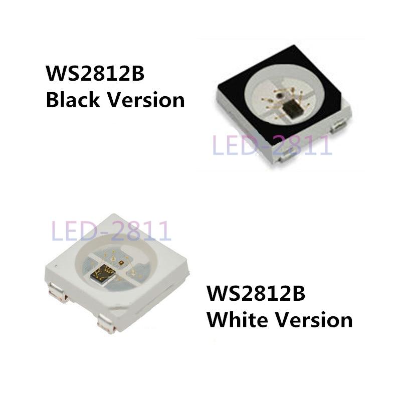 10 ~ 1000 шт. 5 В WS2812B Індивідуально адресований цифровий чіп (4 піна) 5050 SMD Чорно-білий варіант WS2812 RGB LED мікросхема