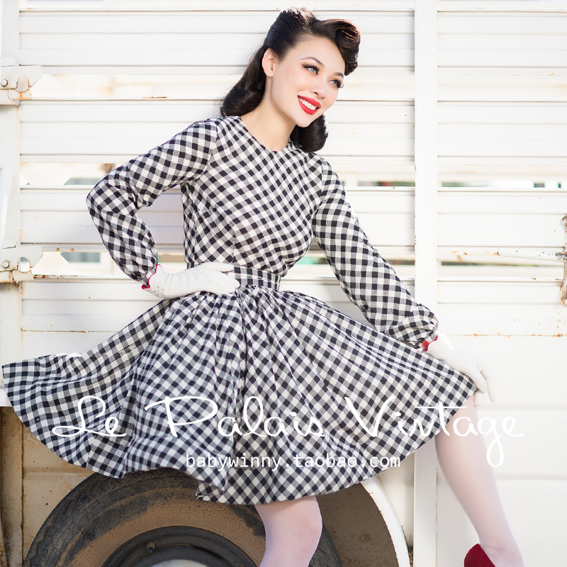 40 le palais vintage 50s summer women gingham long sleeve circle swing  dress rockabilly pinup vestidos plus size dresses jurken-in Dresses from  Women s ... 980102748d57