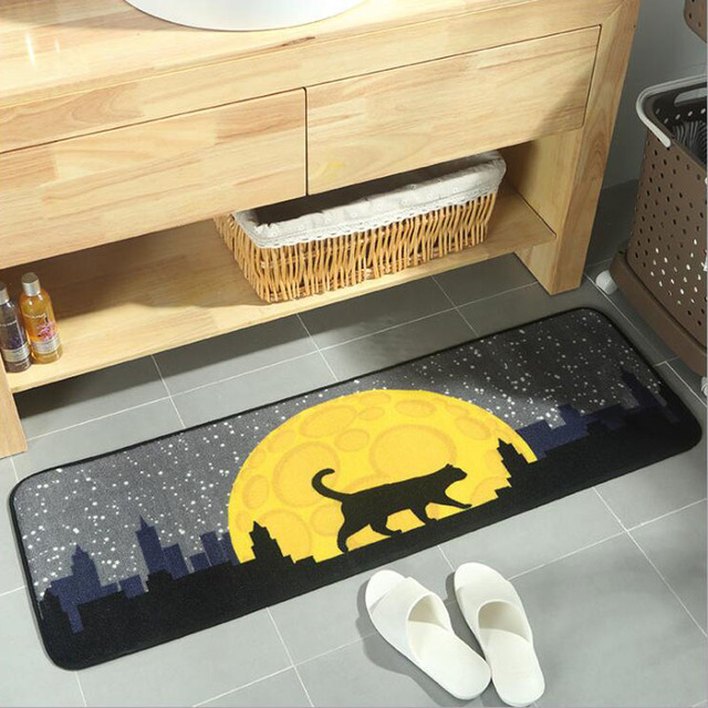 Kitty And Moon Pattern Floor Mat Good Quality Rugs For Door Hallway Kitchen Living Room Decoration