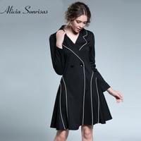 New 2018 Spring Dress Black Suit Collar Large Size Women S Plus Size 3XL 4XL 5XL