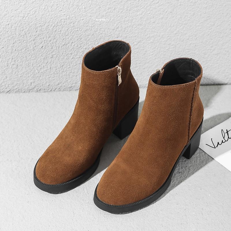 Las Calidad Caliente Genuino Tobilleras Cómodos brown Botas Gruesa Cortos Black Alta Mujeres Alto Mujer De Zapatos Ocio Tacón Cuero Gamuza Otoño rUtrcT6qw