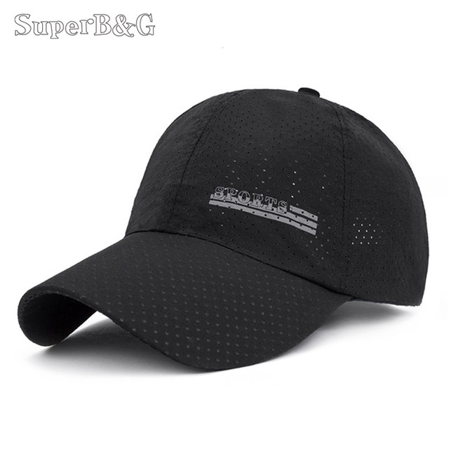 35afd139304 SuperB G Baseball Cap Mesh Hat Men Women Thin Breathable Snapback Cap  Unisex Male Outdoor Sport Hat