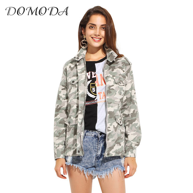 DOMODA 2017 Autumn Casual Chic Women Outwear Olive Green