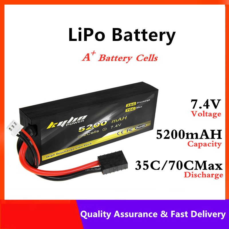 <font><b>Lipo</b></font> battery <font><b>2S</b></font> 7.4V <font><b>5200mAH</b></font> 35C/70C Max Large capacity RC Cars Quadcopter Airplane Helicopter high rate Lithium Battery image
