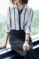 2018 фунтов шелковые рубашки, женские длинные рукава, шелковые блузки тутового шелка, шелковые и атласные полосатые шелковые рубашки