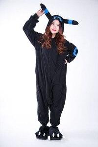 Image 2 - Kigurumi Volwassen Umbreon Rompers Anime Cosplay Kostuum Winter Nachtkleding Pyjama Jumpsuit Homewear Vrouwen Man Hoodies