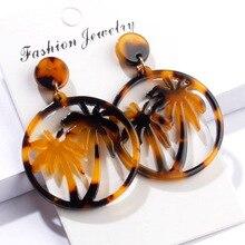 Women Fashion Simple Female Coconut Palm Tree Dangle Earring Round Resin Circle Drop Earrings Jewelry цены