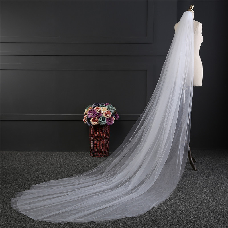 White 3 M Long Trailing 3 Layer Cathedral Wedding Veils Long Bridal Veil With Comb Wedding Vail Accesories Women 2018 Simple