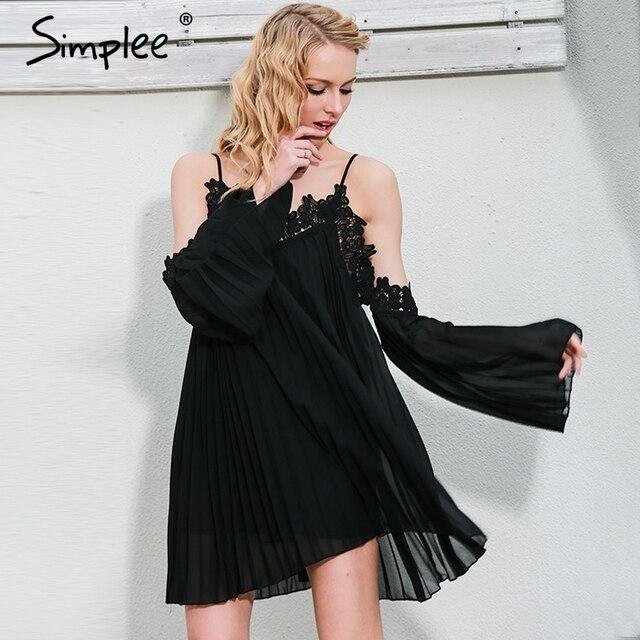 Simplee Sexy  black lace summer dress 2016 christmas Short split white women dress shirt Off shoulder long sleeve beach sundress