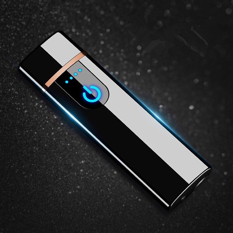 Usb charge briquet électronique coupe-vent mince personnalité masculine Femmes électrique chauffage fil coloré allume-cigare
