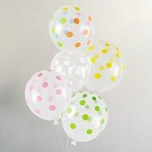 Globos transparentes de látex de 12 pulgadas, decoración de lunares de colores para boda, Globos de fiesta de cumpleaños, Globos de aire, 10 Uds.