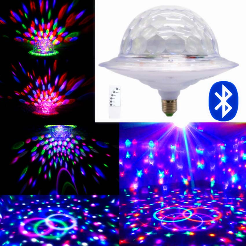 E27 UFO 6 colors Bluetooth MP3 Crystal Magic Rotating Ball disco lights sound control Led Projector RGB Party DJ Stage Lighting 6w e27 led stage light rgb lamp with voice activated mp3 projector crystal magic ball rotating disco dj party stage lighting