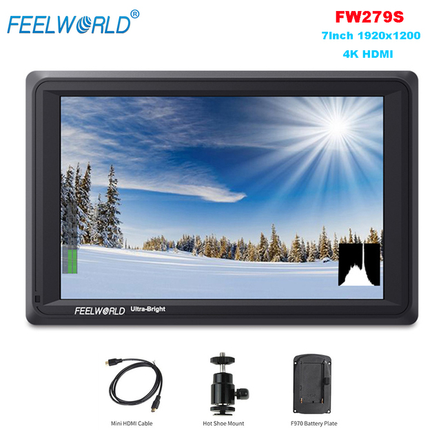 Feelworld FW279S 7Inch 1920x1200 4K HDMI Input/Output 2200cd/m2 Daylight Viewable SDI Field Monitor for Cameras Camcorders DSLR