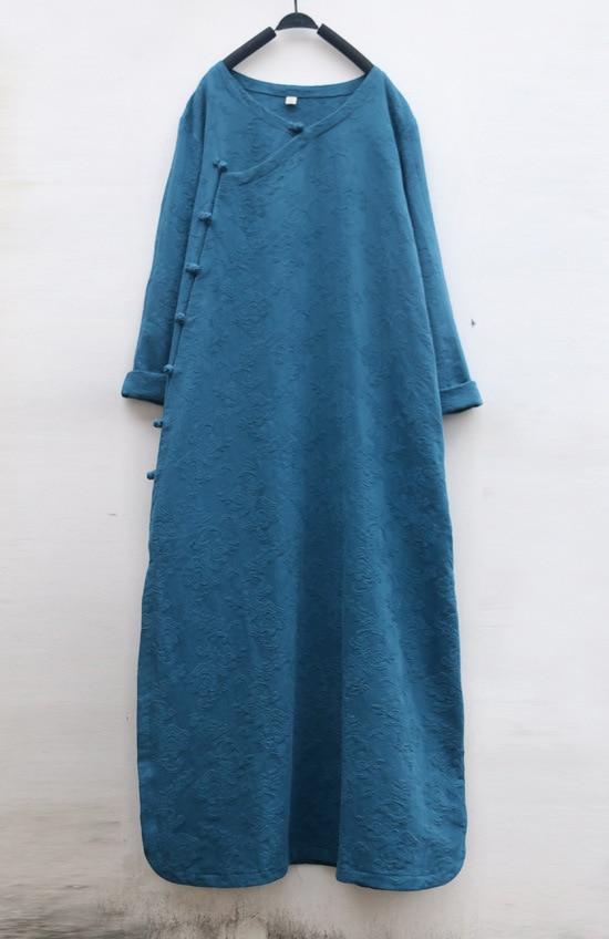 6 Colors Vintage Slanting Frog Button Jacquard Flower Women Cotton Linen Dress Spring Autumn Thick Long