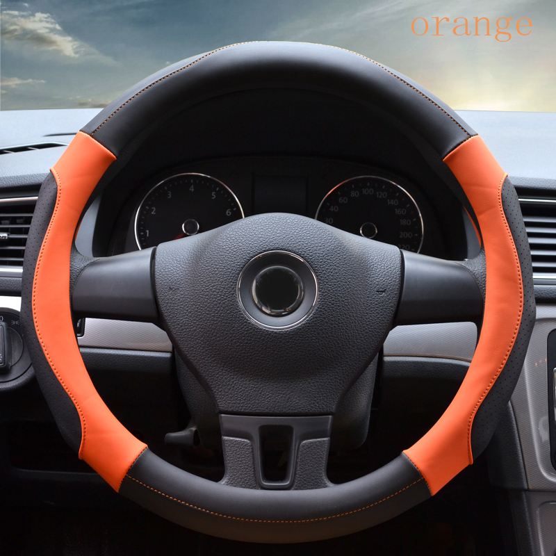 Automobile Steering Wheel Cover non-slip design and Breathable material of Micro Fiber Leather for unique experience