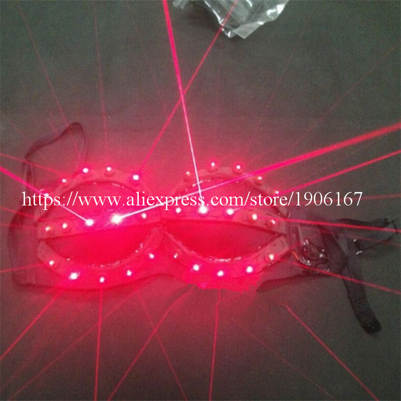 Hot Sale Red Laser Women Luminous Light Up Bra Clothes Sexy Lady Dance Costume For Laser Show Party