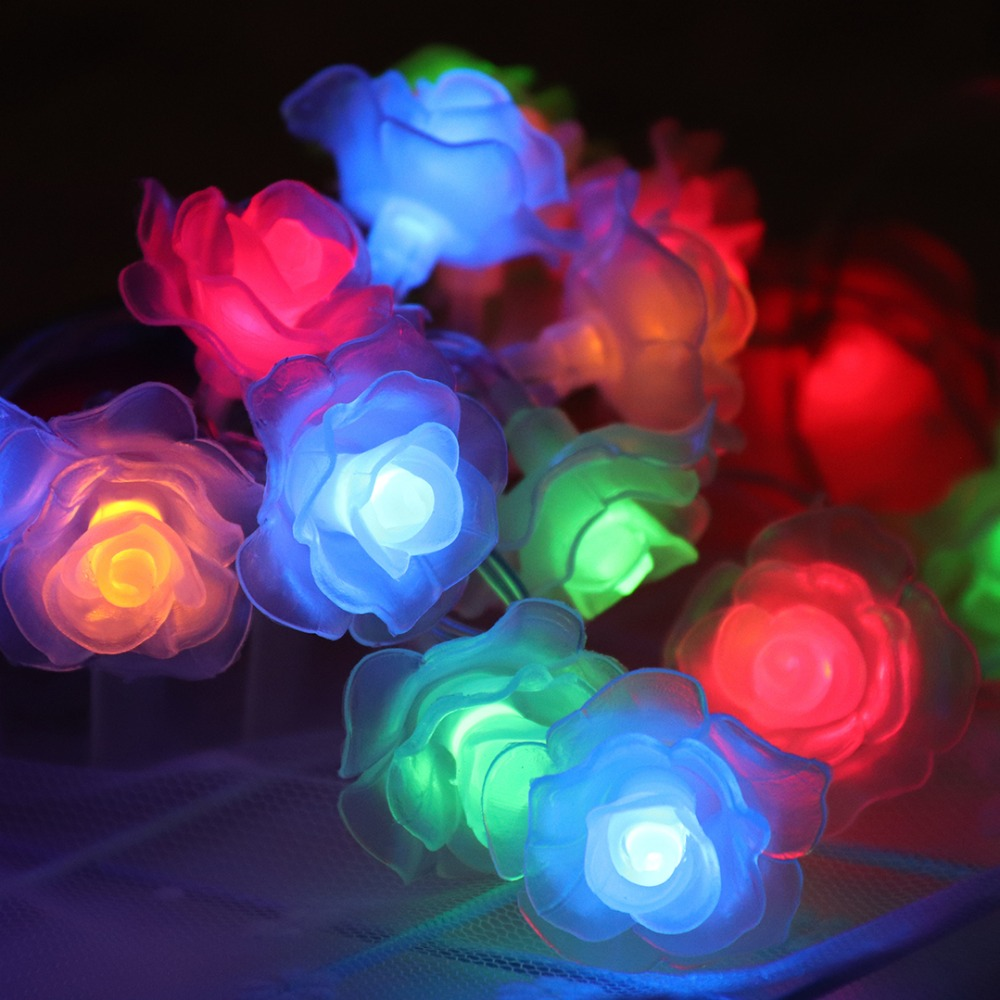 7M/9M LED Garlands String Light Rose Flowers Strip Light Valentines Day Christmas Wedding Party Garden Lanterns Decoration JQ