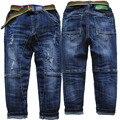 3997 elástico da cintura calças de brim menino calças meninos denim calças de brim do furo calças infantis calças moda azul marinho primavera outono crianças