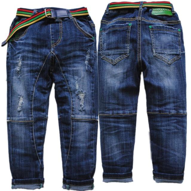 3997 elastic waist jeans boy pants boys denim hole  jeans pants trousers kids fashion  navy  blue spring autumn children