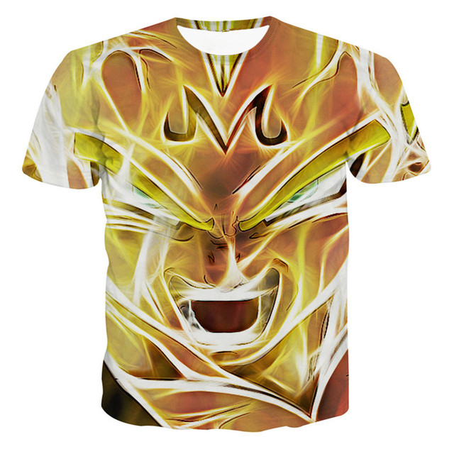 Dragon Ball Z Super Saiyan Vegeta 3D Anime Summer Casual Unisex T-shirt