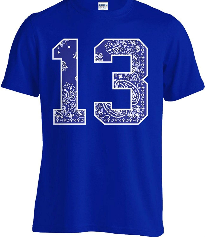 2017 New Men T-shirt Blue Bandana # 13 Tee Crew T Shirt Urban Wear Paisley Print Street Hip Hop La