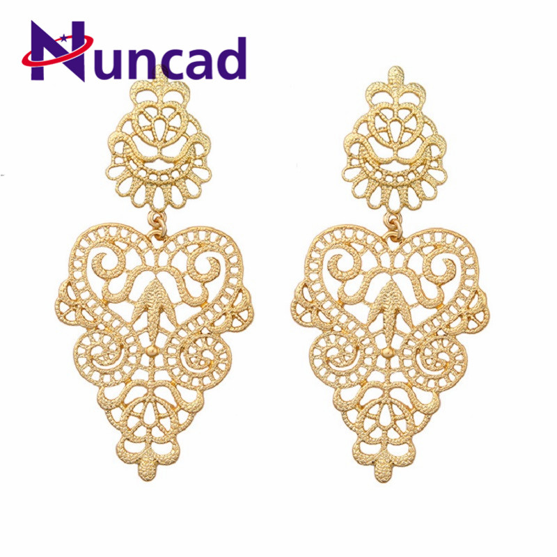 New Fashion Large Round Hollow Flower Earring Gold color Vintage Chic Dangle Eardrops Women Fashion Jewerly