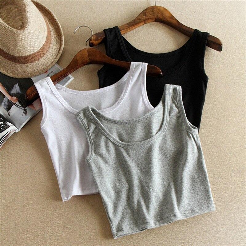 Sleeveless U Croptops Summer Slim Render Short Top Tank Tops Solid Black/White/Gray Crop Tops Vest Tube Top 3Color
