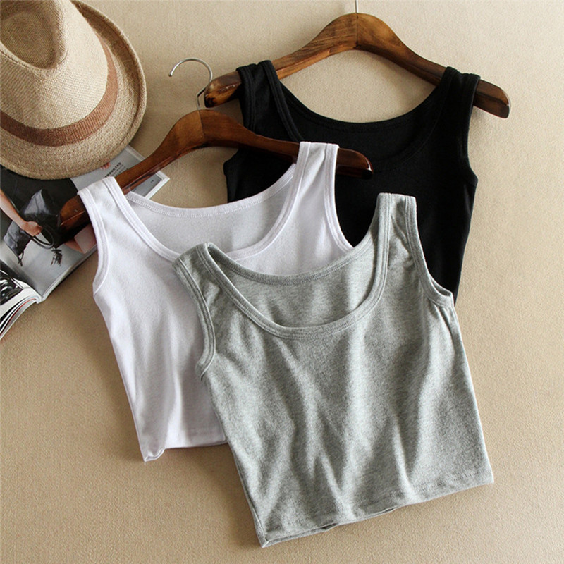 Sleeveless U Croptops Summer Slim Render Short   Top     Tank     Tops   Solid Black/White/Gray Crop   Tops   Vest Tube   Top   3Color