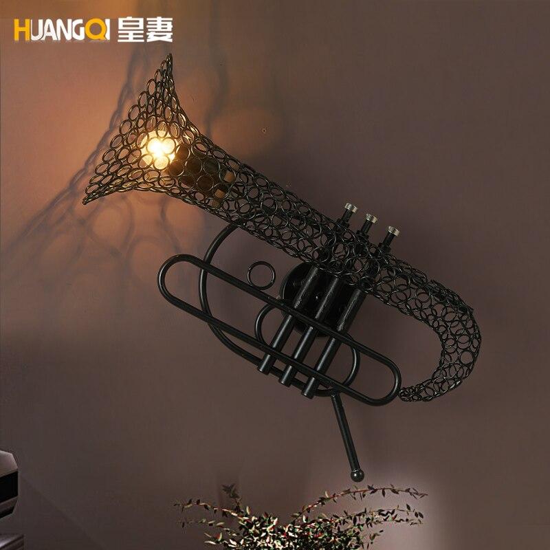 Amercian промышленных сельской местности Винтаж саксофоны бра украсить для кофе комнаты/бар/гостиная настенный светильник