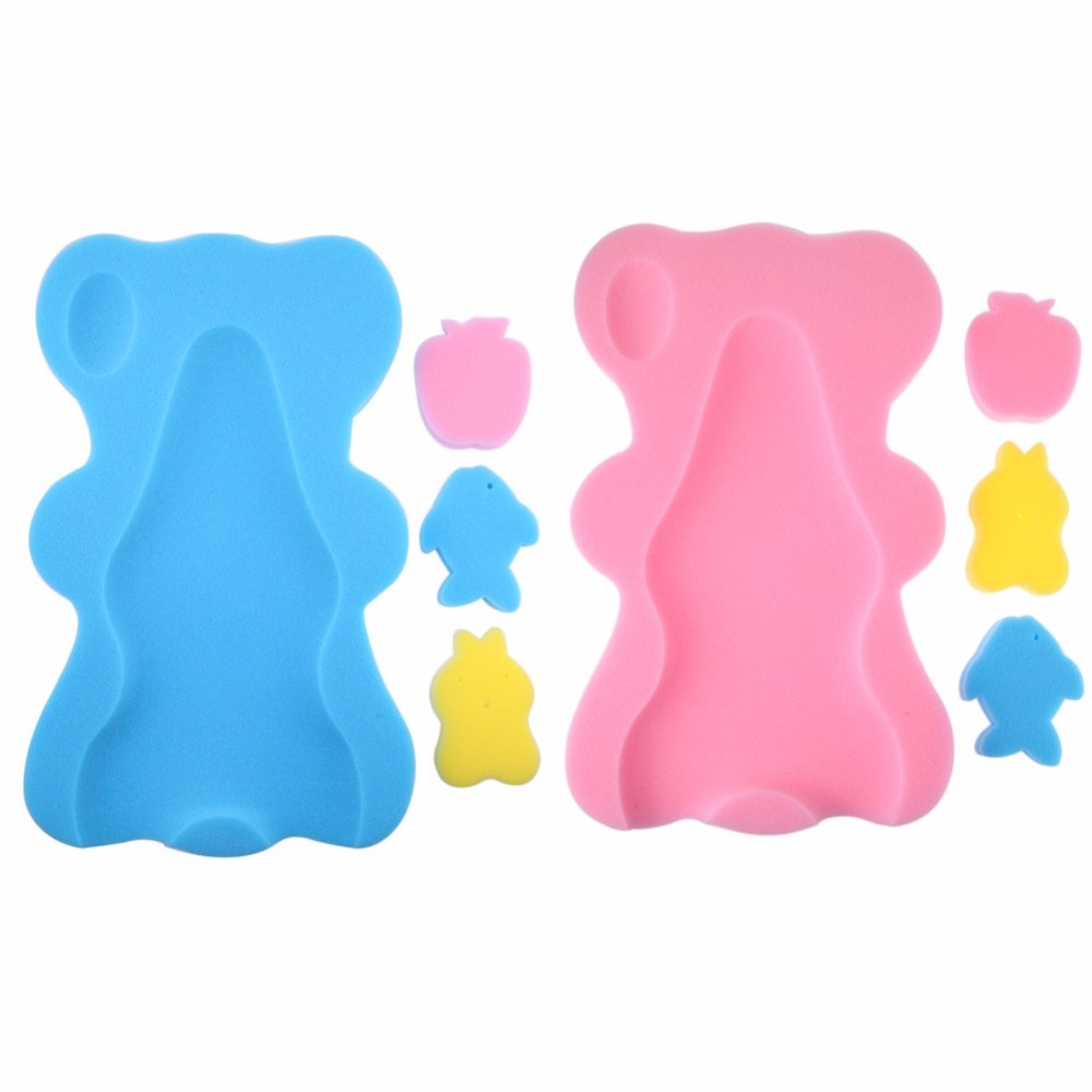 Bear Shape Baby Shower Sponge Cushion Bath Holder Anti-slip Newborn Seat Baby Bath Pad Infant Soft Cushion Bed Support  Bath Toy