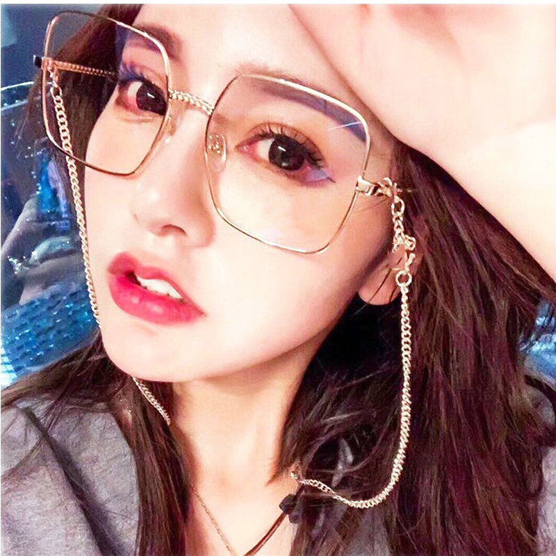 Feishini 2019 Brand Myopia Big Face Eyeglasses frames Metal Glasses Clear Lens Vision Square Frame Women Vintage