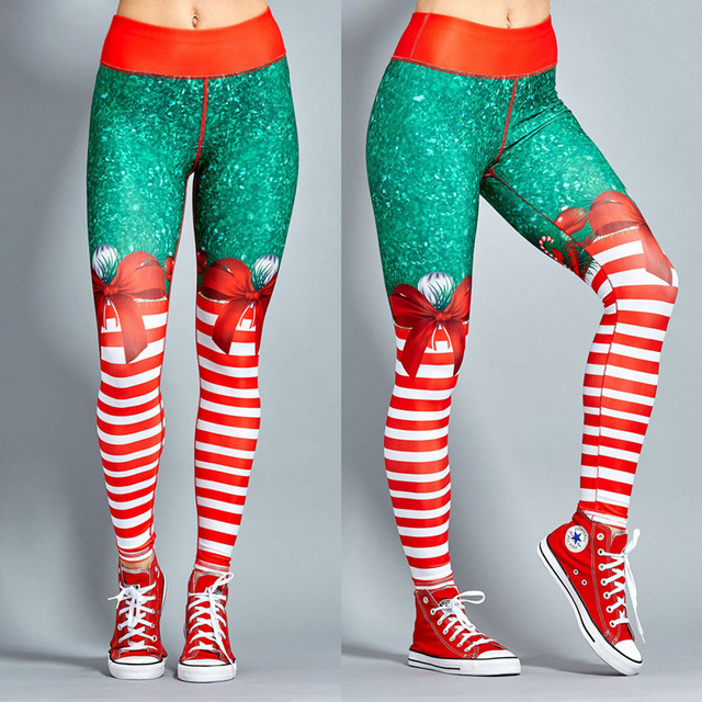 Polyester Red Christmas Striped Print Legging