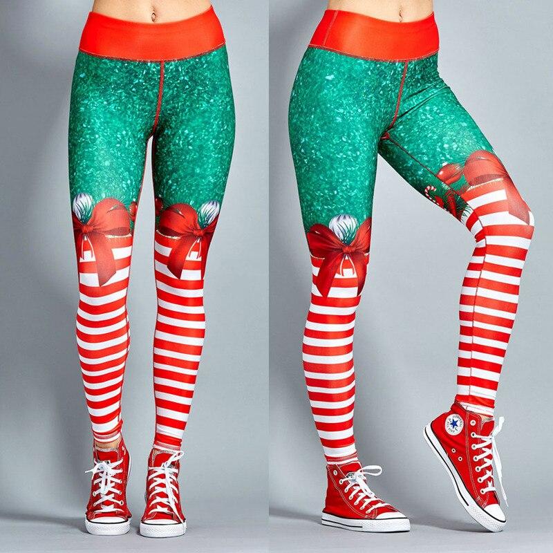 Neue Stil Frauen Fitness leggings Polyester Rot Weihnachten Striped Print Leggings Digital Print Hosen Hosen Stretch Hosen